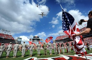 Flyover at Tampa Buccaneers Bay game during 2012 season. Credit Cliff McBride/Tampa Bay Tribune Staff