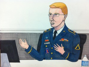 Bradley Manning testifying, sketched by Clark    Stoeckley of the Bradley    Manning Support Network.