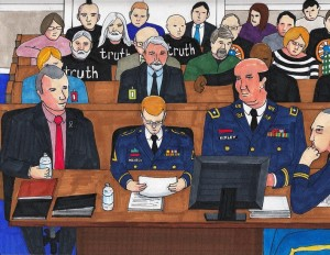 Bradley Manning reading his plea statement in court, sketched by Clark    Stoeckley of the Bradley Manning Support Network.