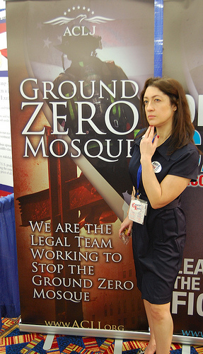 Angela Keaton contemplating the jihad threat at the 2012 CPAC (credit: Jim Bovard)