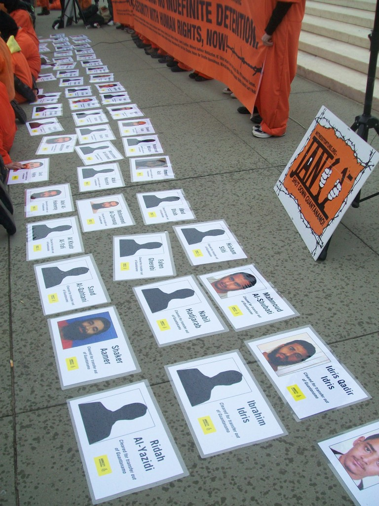 Detainee IDs displayed at a protest outside the Supreme Court, February 2013. Credit: K Vlahos