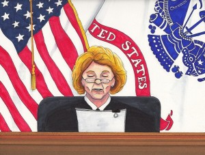 Judge Denise Lind. Sketch by Clark    Stoeckley, Bradley Manning    Support Network.