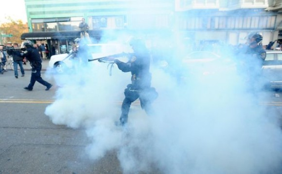 Oakland police fire tear gas at Occupy protesters, 2011 Photo: Noah Berger