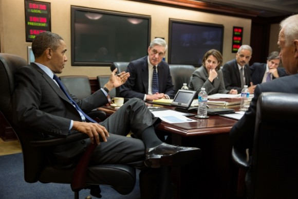 President Obama gets briefed by his national security team on the developments in the Boston bombing