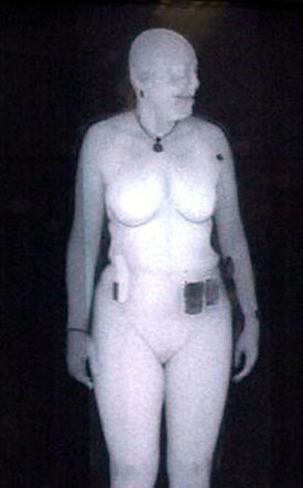Full Body Scanner image of a female passenger