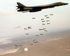 A B-1B Lancer unleashes cluster munitions. Credit: US Army