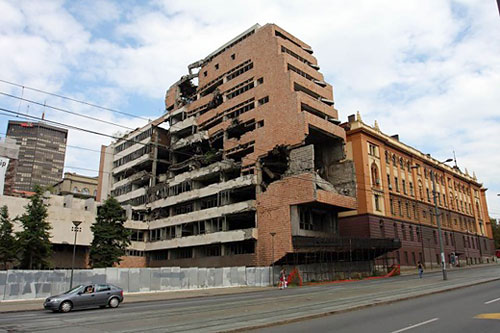 Bombed out government building in the city center of Belgrade still standing