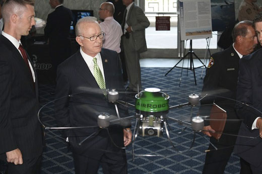 Bud McKeon, chair of the House Armed Services Committee and big beneficiary of drone lobby money, at recent industry event (credit: Unmanned Systems Caucus)