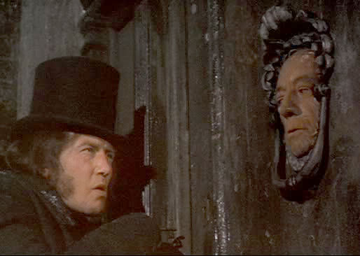 Ebenezer Scrooge, played by Albert Finney in 1970, sees a ghost