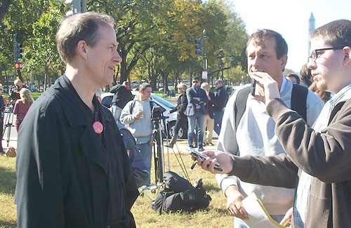 Tom Drake is interviewed at the Stop Watching Us rally in Washington in October