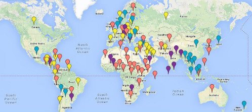 U.S. Special Operations Forces around the world, 2012-2013 (key below article) ©2014 TomDispatch ©Google