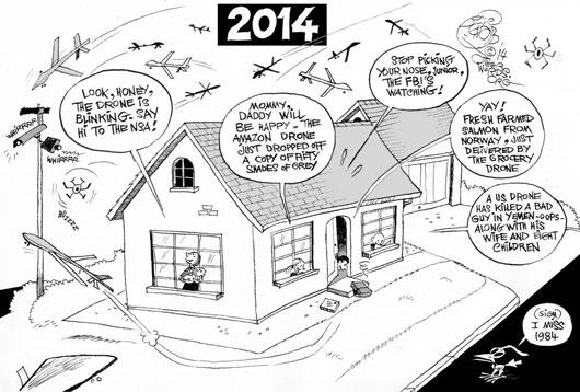 Drone City, an OtherWords Cartoon by Khalil Bendib