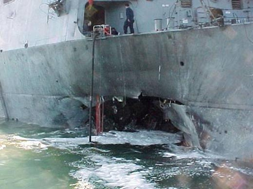 USS Cole, 2000. Blown up by suicide guys in a small boat.
