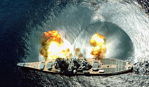 The Iowa, BB-61. I went aboard her at Norfolk at the Navy's invitation. It altered my appreciation of guns. I came away thinking that if you can't crawl into it, it isn't really a gun. And solid: There is a reason why no battleship was sunk after Pearl Harbor.