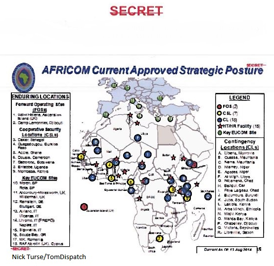 A Map Of U S Military Bases Forward Operating Sites Cooperative Security Locations And Contingency Locations Across The African Continent In 2014